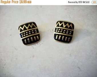 ON SALE Retro Gold Black Aztec Enamel Metal Earrings 112816