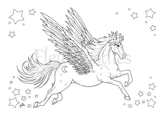 Coloring Pages For Adults Etsy : adult coloring Pegasus printable digital download by Fleurdoodles