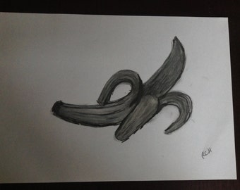 Charcoal SoftPastel Graphite Banana Fruit  Sketch Drawing A4