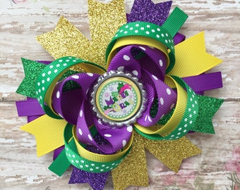 Mardi Gras hair bow-large puple green yellow gold hair bow-large Mardi Gras  bow-over the top mardi gras hair bow-mardi gras bottle cap bow