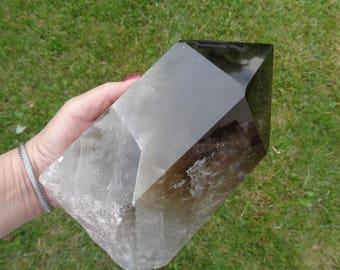 Natural Single Point Generator Smoky Quartz Crystal.