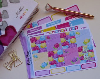 BRIGHT FLOWERS HORIZONTAL Planner Sticker Kit to fit Erin Condren Horizontal Planner