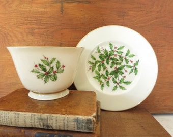 Lenox China Holly Berry Cup and Plate Holiday Decor Gift for Home Hostess Gift