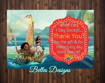 Moana, Thank you card, Birthday Thank you Note, 4x6, Maui, *DIGITAL FILE*, Birthday Girl, Thank you notes