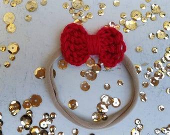 Red Baby Girl Headband  / Nylon Headband / Small Nylon Baby Headband / Baby Shower Gift / Girls Small Headband / Baby Shower Gift Headband