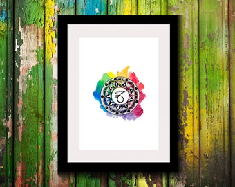 Printable Artwork-Digital Print-Wall Decor-Wall Art-Astrological Sign-Astronomy Decor-Capricorn Zodiac Print-Zodiac-Astrology-Capricorn-Gift