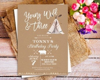 Boho wild tribal birthday young wild & three invitation, camping birthday invitation, camping party birthday invites, summer camping invite