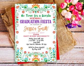 Graduation Fiesta invitation, Fiesta Graduation Party Printable Invitation, Mexican Graduation invitation, Colorful Graduation Party DIY