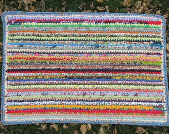 Made to order crocheted rag rug, multi colored rectangle kitchen rug, matches everything