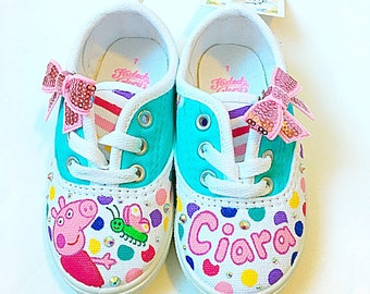 Custom peppa pig canvas shoes - Toddler shoes - personalized peppa pig shoes - personalized shoes - toddler birthday present - custom gift
