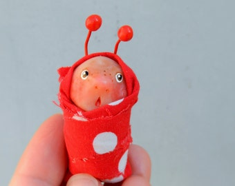 baby caterpillar Blythe pet ooak polymer clay baby doll