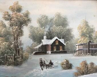 Original Oil Painting on Board by Van Bell Winter Scene
