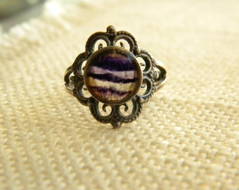 Vintage BLUE JOHN ring setting sterling silver stamped ~ rare stone  ~  inA2060