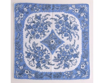 Blue and white floral vintage ladies' handkerchief, hankie, hanky, H8