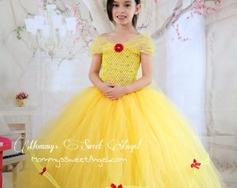 beauty and the beast tutu dress. 2-piece set- tutu dress and matching bow. Birthday tutu dress. Princess tutu dress. Yellow princess dress.