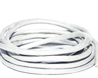 3m -3 mm Metallic Steel Gray Round Leather Cord, 3mm Round Leather Cord, Metallic Leather Cord