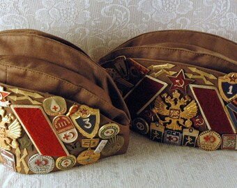 2 Russian Soldier Military Pilotka Hat with Russian Badges