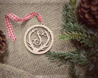 Personalized Monogram Antler Christmas Ornament