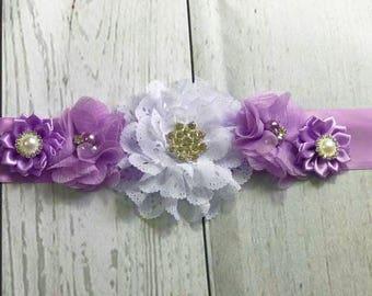 Maternity Sash / Baby Shower Sash / Pregnancy Sash / Belly Sash / Belly Band / Girl Sash / Gender Reveal / Purple Sash / Purple Maternity