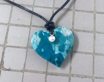 Natural Chrysocolla Heart and White Pearl Pendant with Sterling Silver Black Leather Cord Necklace