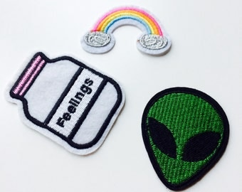 Patches | Patch | Set | Hipster | Trendy | Emo | DIY | Fashion | Alien | Feelings | Rainbow | 90s | Retro
