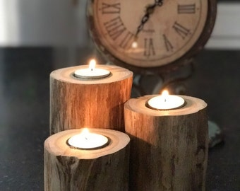 3 Rustic Cedar Candle Holders