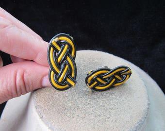 Vintage Pair Of Black & Yellow Braided Screw Back Earrings