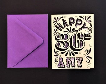 purple and black hand lettered customized happy birthday card