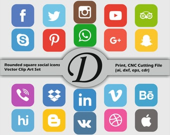 50% OFF SALE Color Rounded Square Vector Social Media Icons And Buttons Set, Print, CNC Cutting File (ai, dxf, eps, cdr). 20 Items.
