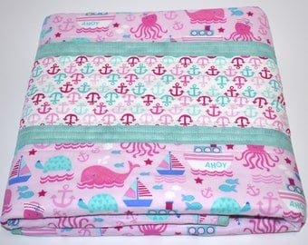 SHIPS TOMORROW! SALE Pink and Mint Nautical Quilt , whales, baby girl, toddler,  modern quilt, anchors, mint, pink, nautical nursery