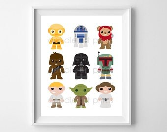 "Star Wars Art Print, Nursery Printable Digital, Baby Boy Nursery Wall Art Decor, Vader, Yoda, Leia, Instant Download 8x10"" & 5x7"""