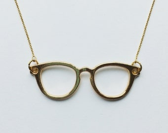 Gold sunglasses glasses retro vintage necklace