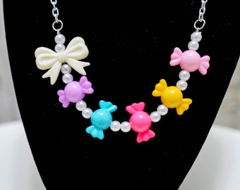 Brightly Colored Candy Necklace with Bow – So kawaii decora fairy kei Lolita j-fashion