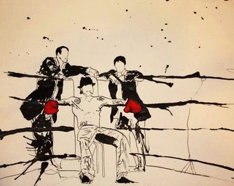 SNATCH: drawing, pen and ink, 8x10 print, ink splatter, black & white with red