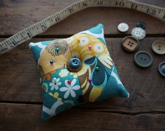 Fabric Pincushion in Teal, Yellow, Aqua vintage look prints with Vintage Button Trim, Sewing Gift, Seamstress Gift