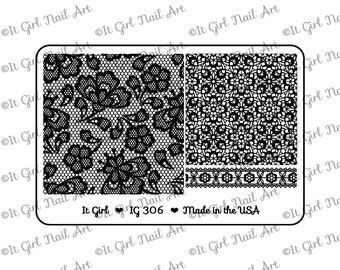 "IG306 Nail Art ""Mini"" Stamping Plate - lace, eyelet, trim, fabric"