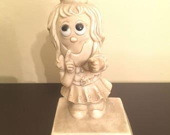 Vintage 1970s Figurine Big Eyes Eyes Guess Who I Like?