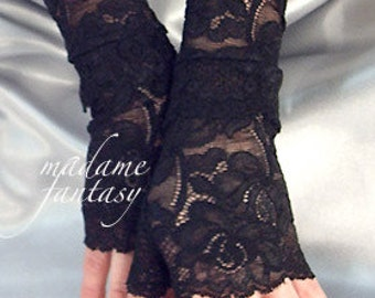 Black stretchy lace cuffs fingerless gloves