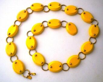 Christian Dior Bakelite Meadowlark Yellow  Link Belt Necklace