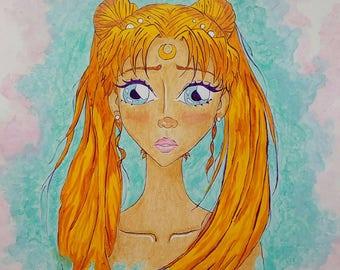 SALE Sailor Moon Painting, Sailor Moon Artwork, Sailor Moon Illustration, Kawaii Painting, Manga Painting, Sailor Moon Artprint