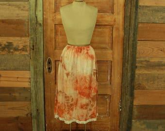 vintage 1990s hand tie dyed orange brown lace detail half slip skirt plus size 3X