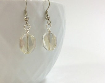 Swarovski crystal silver shade faceted sparkly earrings