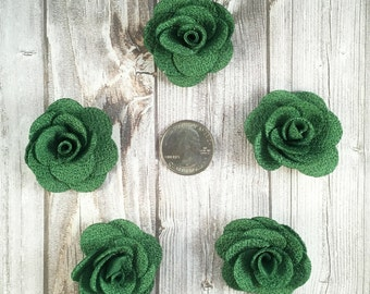 Green burlap flowers - Set of 5 - Crafting roses - Craft supply flowers - 1 3/4 inch - DIY headband - Crafting supplies - Burlap roses
