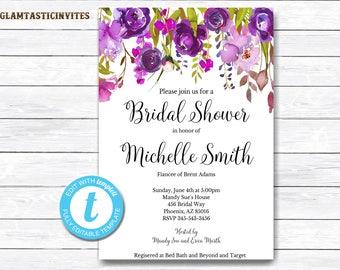 Floral Bridal Shower Template, Bridal Shower Invitation Template, INSTANT DOWNLOAD, DIY Invitation, Floral Invitation, Bridal Shower Invite