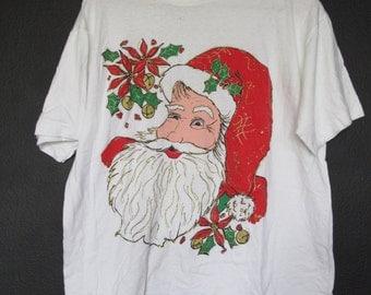 Santa Claus Christmas 1990s Vintage  Tshirt