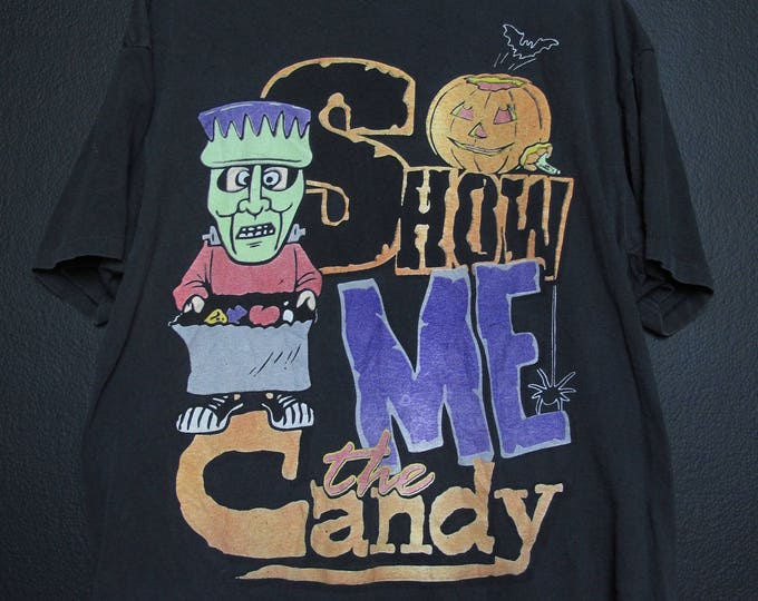 Show Me The Candy Halloween 1990s vintage Tshirt