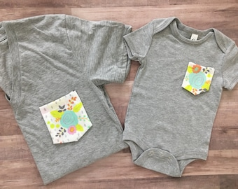 Mommy & Me Tshirt set, Neon floral