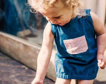 Upcycled summer dress size 1-2 years, blue denim, sustainable and unique, handmade in London