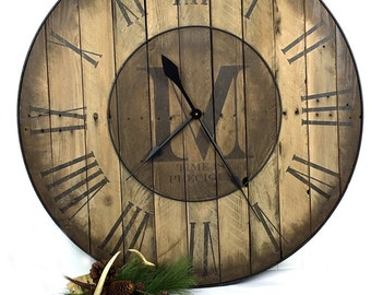 "24"" Custom Wall Clock - Large Wall Clock - Reclaimed Wood Clock - Personalized Clock - Wedding Gift Clock - Christmas Gift - Gift for Her"