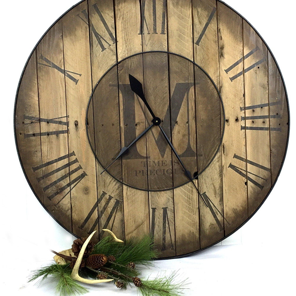 24 custom wall clock large wall clock reclaimed wood. Black Bedroom Furniture Sets. Home Design Ideas
